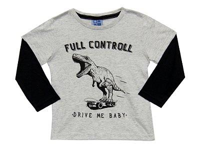 Camiseta em Meia Malha Estampada com Sobreposição nas Mangas Mescla Claro