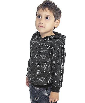 Blusão com Capuz em Moletom Peluciado Estampado com Bolso Mescla Escuro