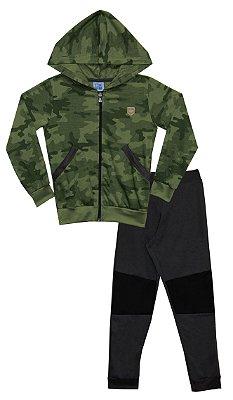 Conjunto de Jaqueta em Moletinho Peluciado com Bolso, Capuz e Calça em Moletinho com Detalhe Verde Militar