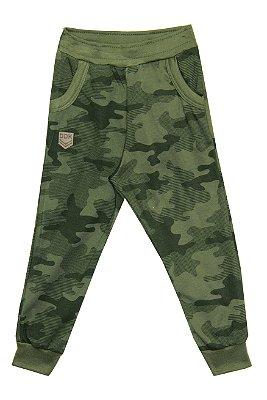 Calça em Moletinho Pv Peluciado Estampado com Bolso Verde Militar