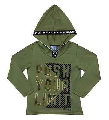 Camiseta em Meia Malha Estampada com Capuz Verde Militar