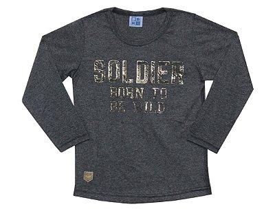 Camiseta em Meia Malha com Estampa Soldier Mescla Escuro