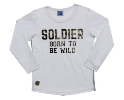 Camiseta em Meia Malha com Estampa Soldier Branco
