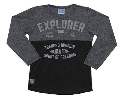 Camiseta em Meia Malha com Detalhes e Estampa Explorer Mescla Escuro