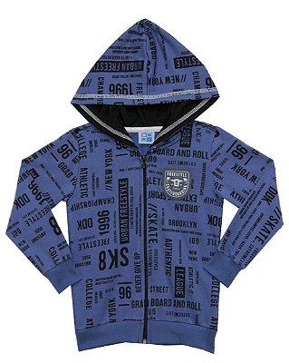 Jaqueta em Moletom Estampado com Capuz Forrado Azul