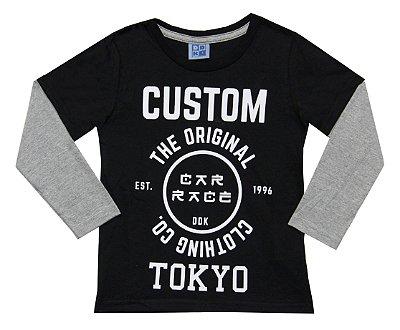 Camiseta Em Meia Malha Com Estampa E Manga Sobreposta -  Preto