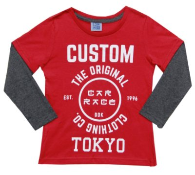 Camiseta Em Meia Malha Com Estampa E Manga Sobreposta -  Vermelho