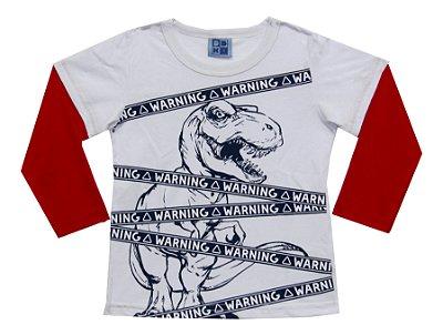 Camiseta com Estampa e Mangas Sobreposta Branco