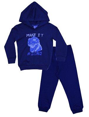 Conjunto Casaco e Calça em Moletom Peluciado Azul