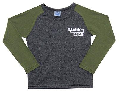 Camiseta Raglan em Meia Malha Penteada US Army Mescla Escuro