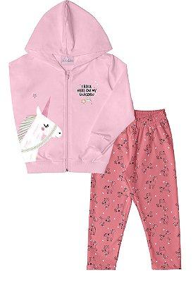 Conjunto de Jaqueta em Moletom Estampado, Capuz, e Calça em Moletom Estampada Rosa