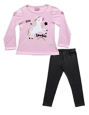Conjunto de Blusa Estampada com Legging Lisa em Cotton Rosa