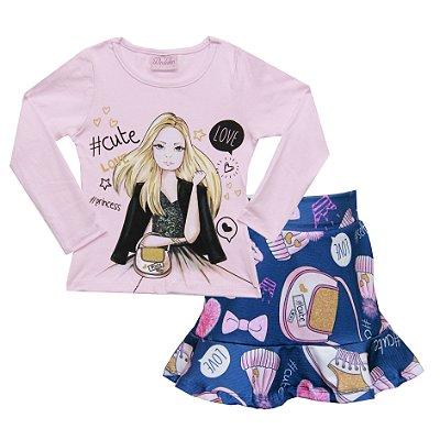 Conjunto com Blusa em Cotton Menina com Saia em Suplex Estampada Rosa