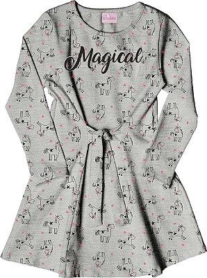 Vestido em Cotton com Detalhe de Amarração, Aplique e Estampa Mescla