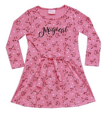 Vestido em Cotton com Detalhe de Amarração, Aplique e Estampa Salmão