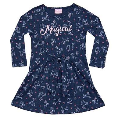 Vestido em Cotton com Detalhe de Amarração, Aplique e Estampa Azul