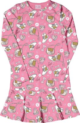 Vestido em Suplex Estampado com Babados Rosa