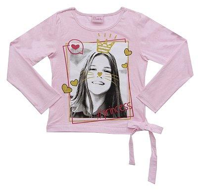 Blusa em Meia Malha Estampada com Amarração Rosa