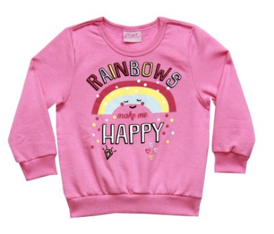 Casaco de Moletom Estampado Rainbows Rosa