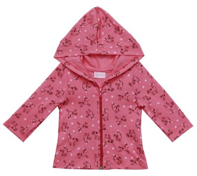 Jaqueta de Moletom Peluciado com Capuz Rosa