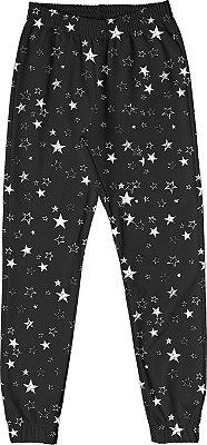 Calça em Moletom Estampado Estrelas Preto