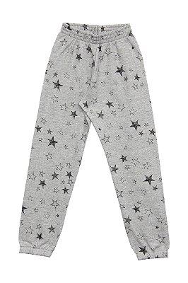 Calça em Moletom Estampado Estrelas Mescla