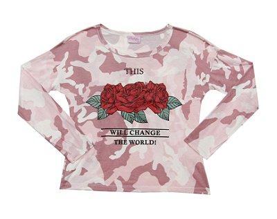 Blusa Manga Longa Estampada Rosa