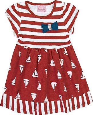 Vestido em Cotton com Laço Vermelho