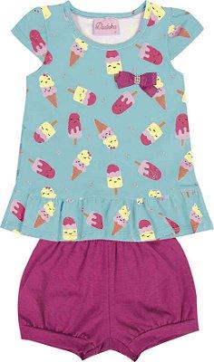 Conjunto Bata e Shorts em Cotton Penteado Azul / Rosa