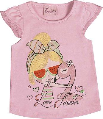 Blusa em Cotton Penteado Love Forever Rosa