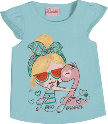 Blusa em Cotton Penteado Love Forever Azul