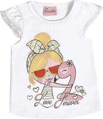 Blusa em Cotton Penteado Love Forever Branco