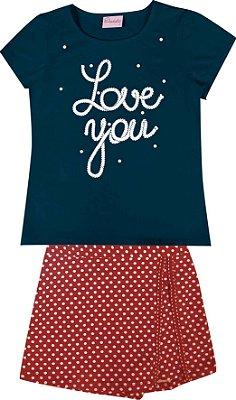 Conjunto de Blusa Love You e Short Saia em Bolinha Azul