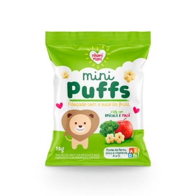 Mini Puffs Snack Integral - Brócolis E Maçã 12 Unidades 15g