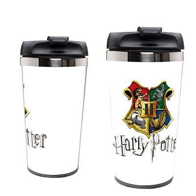 Copo Térmico Harry Potter Simbolos Tampa Rosqueável.