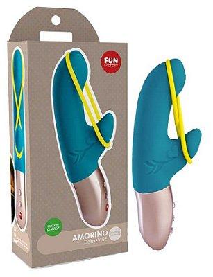 Fun Factory Amorino - Vibrador Ponto G Recarregável Em Silicone Soft Touch Com Estimulador De Clítoris E 6 Modos De Vibração, A Prova D'Água - 17,5 X 3 cm | Cor: Azul