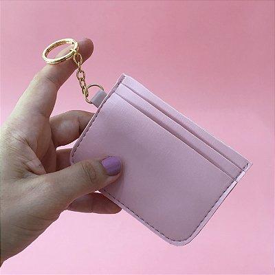 Chaveiro Porta Cartão - Rosa Algodão Doce