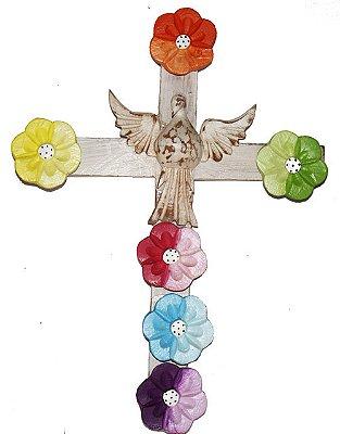 Cruz Divino Espírito Santo Madeira  Com Flores (23x31cm)