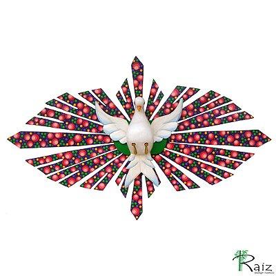 Divino Espírito Santo com Flores Oval Madeira Pintado Colorido 96m