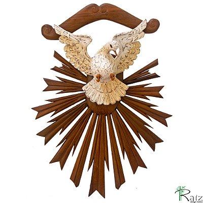Divino Espírito Santo com Resplendor em Tom Natural Madeira