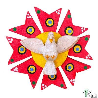 Divino Espírito Santo com Resplendor Madeira Pintado Colorido