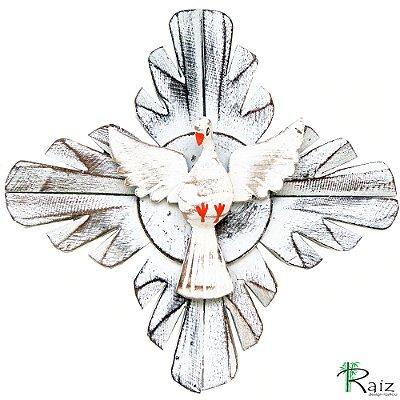 Divino Espírito Santo Redondo Madeira Pátina Branca Rústico 23cm