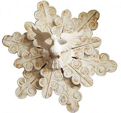 Divino Espírito Santo Madeira Patinado Resplendor Duplo Coleção Rococó (90cm)
