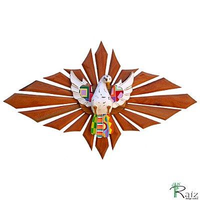 Escultura Divino Espírito Santo Resplendor Oval Encerado