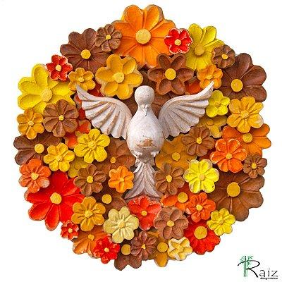 Mandala Divino Espírito Santo com Flores Coloridas Madeira Encerado 35 cm