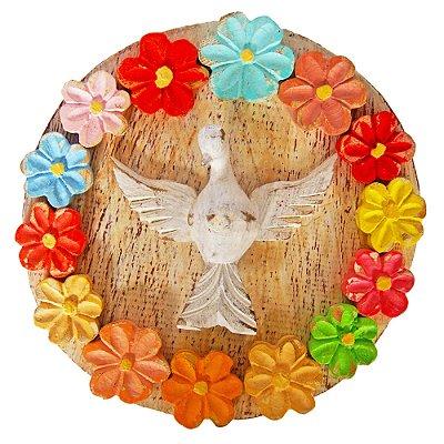 Mandala Divino Espírito Santo com Flores Coloridas Madeira Pátina Branca Rústico 20cm
