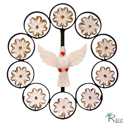 Mandala Divino Espírito Santo com Flores Madeira e Metal
