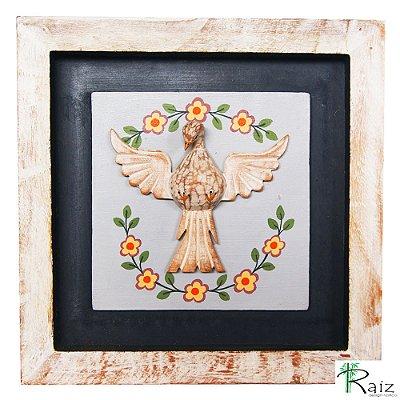 Quadro Divino Espírito Santo com Flores Rústico Encerado Pátina Branca Fundo Preto (26x26x3)cm