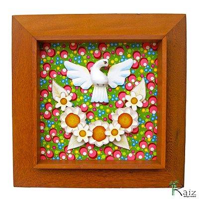 Quadro Divino Espírito Santo Flores Madeira Fundo Colorido Moldura Natural 45cm