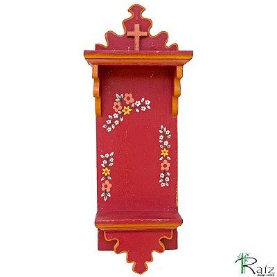 Oratório Artesanal de Parede em Madeira Pintado com Flores Vinho